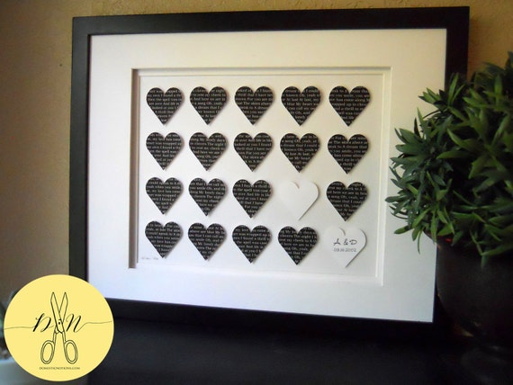 Wedding Present, Personalized First Dance Lyric Hearts - Wedding Vows, Unique anniversary present