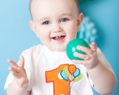 Custom Applique Monogram First Birthday Tshirt Balloons 1st Birthday