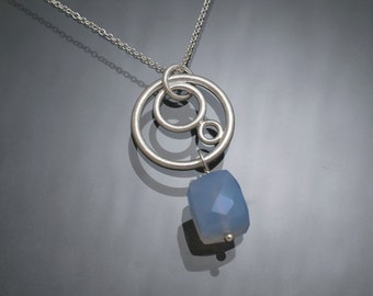 Chalcedony and sterling silver hoop pendant