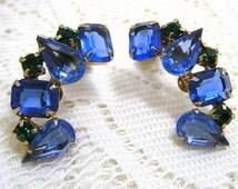 Earrings Sapphire/Emerald Rhinestone Vintage Juliana D&E style Ear climber Bride Retro Chic SALE