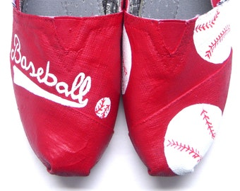 The Anna - Red and White Baseball Custom TOMS