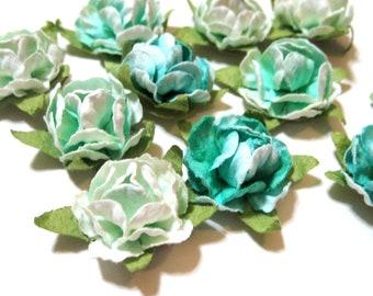 Paper Flower Stickers - Green Assortment (11)