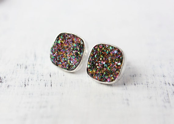 Druzy earrings, drusy, sterling silver, sparkly, galaxy, titanium druzy - The Stardust Earrings - Rainbow Edition