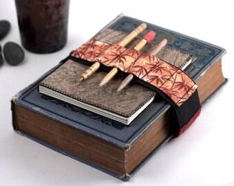 Adjustable Bandolier / pencil case alternative / Orange Bamboo