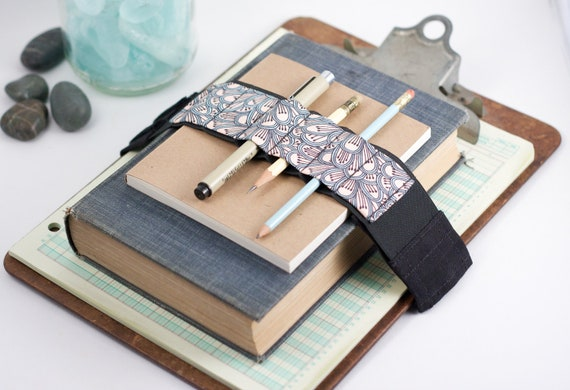 Adjustable Velcro Bandolier // petals // (a better pencil case, journal pen holder, book strap, pen loop, pencil roll, pen bandolier)