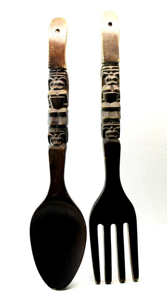 wooden fork and spoon wall hangings by hobartcollectables on etsy. Black Bedroom Furniture Sets. Home Design Ideas