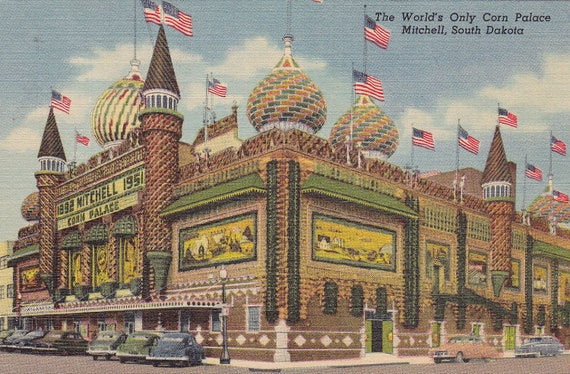 The World's Only Corn Palace- Mitchell, South Dakota- 1950s Vintage Postcard- Unused