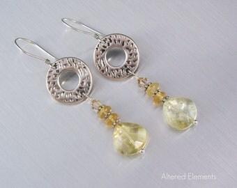Hoop Dangle Earrings - Citrine and Hessonite - Beaded Earrings