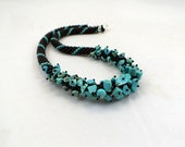 Beaded necklace with turquoise chip, collar for woman ,bead crochet black rope, blue turquoise jewelry, bib, statement necklace ,beadwork
