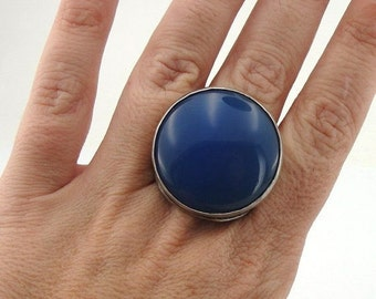 Hadar Jewelry Handcrafted Israel Art Sterling Silver Huge Blue Agate Ring sz 8.5 (H 186)