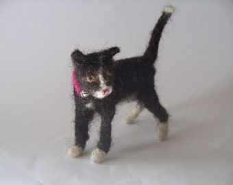 Tuxedo  Kitten   Needle Felted cat