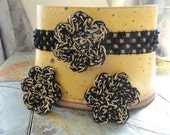 Girls Crochet Flower Headband and Snap Clips Set in Black & Gold, Free Shipping to USA