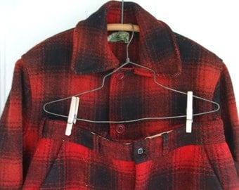 Plaid Jacket Pants Men's Hunting Outfit Lumberjack Red Black Wool
