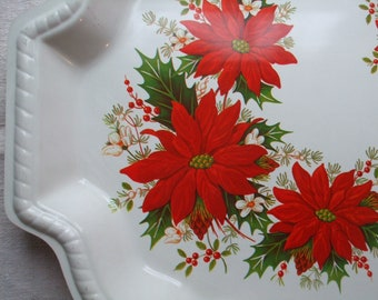 Cookie Tray Christmas Platter Poinsettias Holly Leaves Retro Plastic SALE