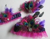 Pink & Purple PEACOCK Garter Set and Peacock Hair Clip Fascinator, Prom Garter, Gatsby Head Piece, Prom 2016, Dance Costume