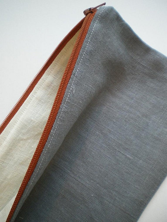 Long Linen Pencil Pouch, Grey Linen Zipper Bag