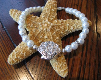 Rhinestone Shell with  Faux White Pearl Bracelet Bridal wedding party Beach Theme Jewelry