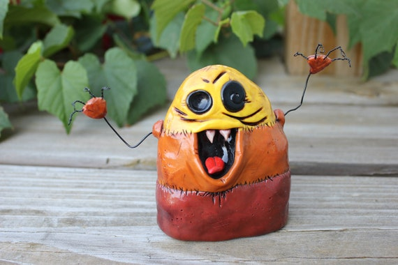 Giant Zombie Candy Corn Polymer Clay Sculpture