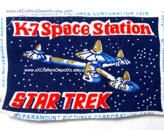 1 Piece Vintage K 7 Space Station Space Ship Star Trek Cotton Fabric Rectangles 1976 Production Precut SALE USA