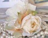 Ivory Bridal Hair Flower, Wedding Headpiece, Wedding Hair Flower, Ivory Pearl Wedding Hair Accessory