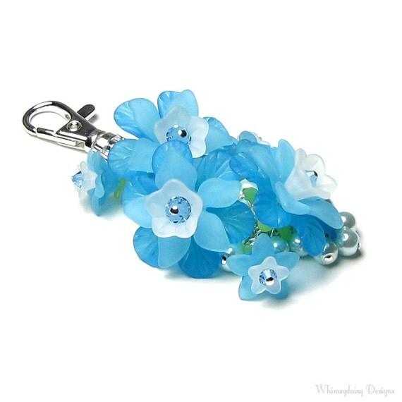 Bright Aqua Floral Crystal Pearl Cluster Silver Handbag Charm