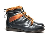 Womens US 6 1/2 Rugged Black/Brown Leather Lace Up Ankle Boots With Faux Fur Lining