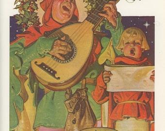 Christmas, Court Jester And Boy Sing Adeste Fideles, J C Leyendecker, Saturday Evening Post, USA, Antique Print, 1976