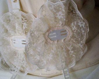 DIY Bridal supplies corsage wristlets 1set of 2 - accessories Lace wedding supply vintage lace corsage making DIY bride ivory victorian