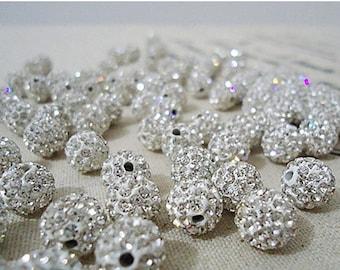 SALE-Fabulous 10 pcs rhinestone ball- silver tone-F617-shambhala beads