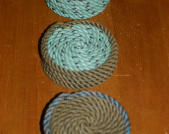 SET OF 4 Rope Coasters Choose from 3 Color Choose Nautical Decor Great Gift