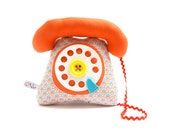 dial telephone play cushion velcro handset orange graphic pattern - telephone à cadran combiné avec velcro orange graphique