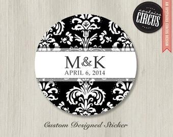 Custom Wedding Stickers - Black and White Damask Wedding Labels