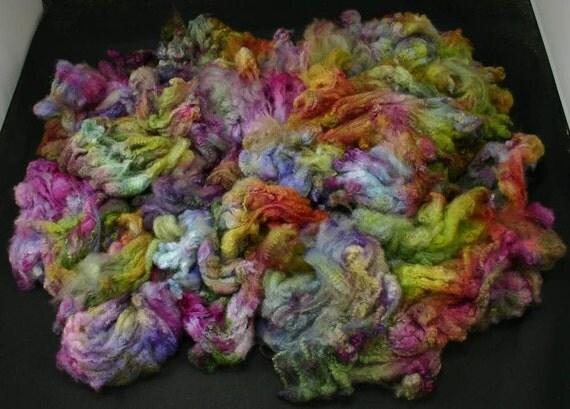 Maco Merino fleece, very soft, hand painted fiber for spinning and felting, 4.2 oz, 100 % wool