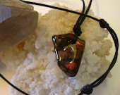 Deep Red Ammolite Found in Utah Deposit Mens Necklace with Black Adjustable Necklace Cord 137