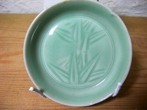 Japanese porcelain plate 2514 celadon Sanda japanese
