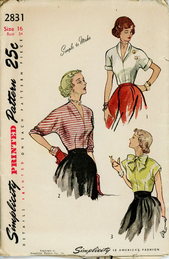 Simplicity 2831 Misses 1940s Blouse Pattern Kimono Sleeve Sleeve and Neckline Variations Womens Vintage Pattern Bust 34