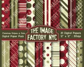 Vintage Christmas Stripes and Dots Digital Paper Pack Collection-Download and Print (TIFNYC-XMASPP-6)