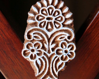 ON SALE Hand Carved Indian Wood Textile Stamp Block- Floral Motif