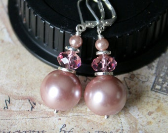 Dusty Rose Pearls and Light Rose Swarovski Crystals Bridal Earrings