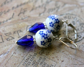 Sapphire Oriental Floral Ceramic Beads and Crystal Drops Earrings
