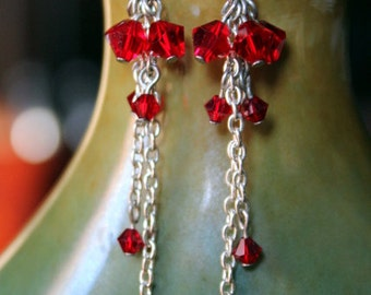 Red Swarovski Crystals Cluster and Chains Long Earrings