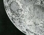 The Moon From a 1950's Russian Encyclopedia Black and White Drawing  2 Sided Print