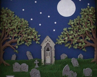 3-D Handcut Cemetery at Night Paper Cutting in Shadowbox Frame 10x10