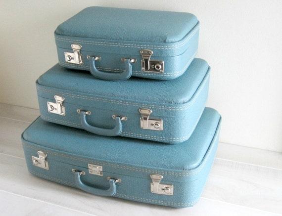 Vintage Blue Suitcase Luggage Set