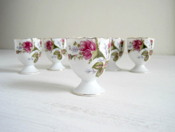 Vintage Moss Rose China Egg Cups - Shabby Chic Cottage
