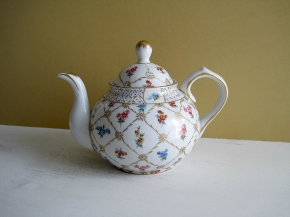 Vintage Floral China Teapot - Hand Painted
