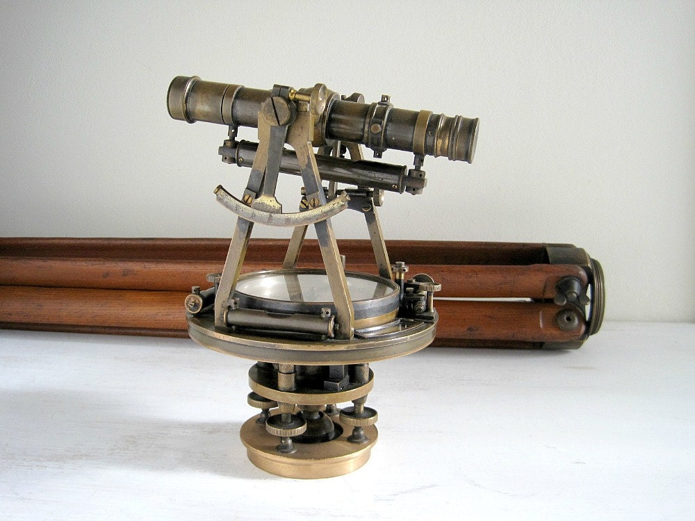 Antique Brass Surveyor S Transit And Tripod Queen Amp Co