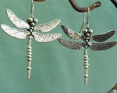 Dragonfly Earrings - larger - sterling silver