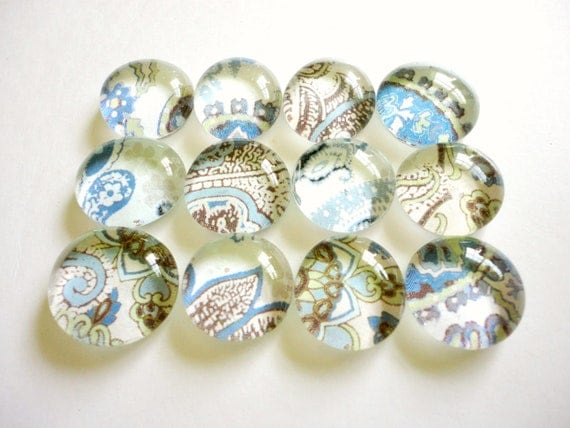 CLEARANCE - Glass Marble Magnets or Push Pins - Natual Paisley