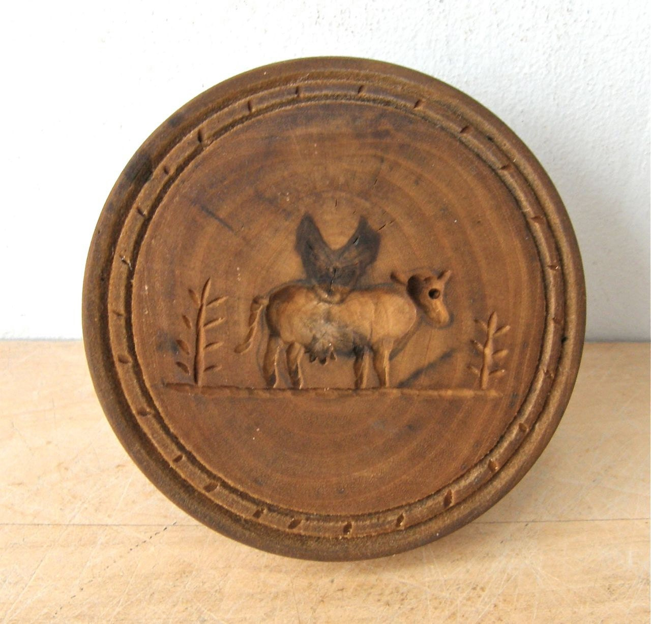 Antique WOODEN COW Butter MOLD Fine American Primitive